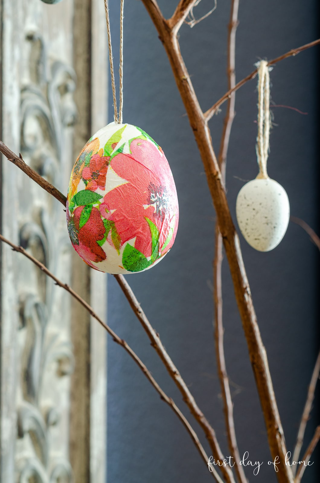 Decoupage Easter egg made with floral napkins from Dollar Tree