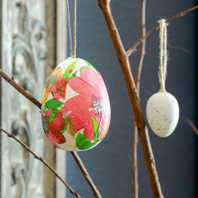 decoupage Easter egg using napkins from Dollar Tree