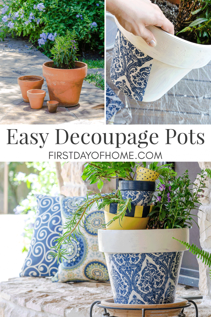Decoupage flower pots using napkins
