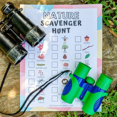 Nature Scavenger Hunt for Kids printable with binoculars on a stone outdoors