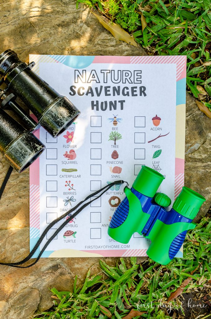 Nature scavenger hunt for kids free printable with binoculars