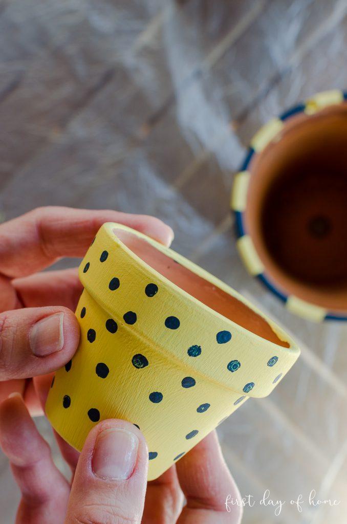 Polka dot painted mini terracotta pot