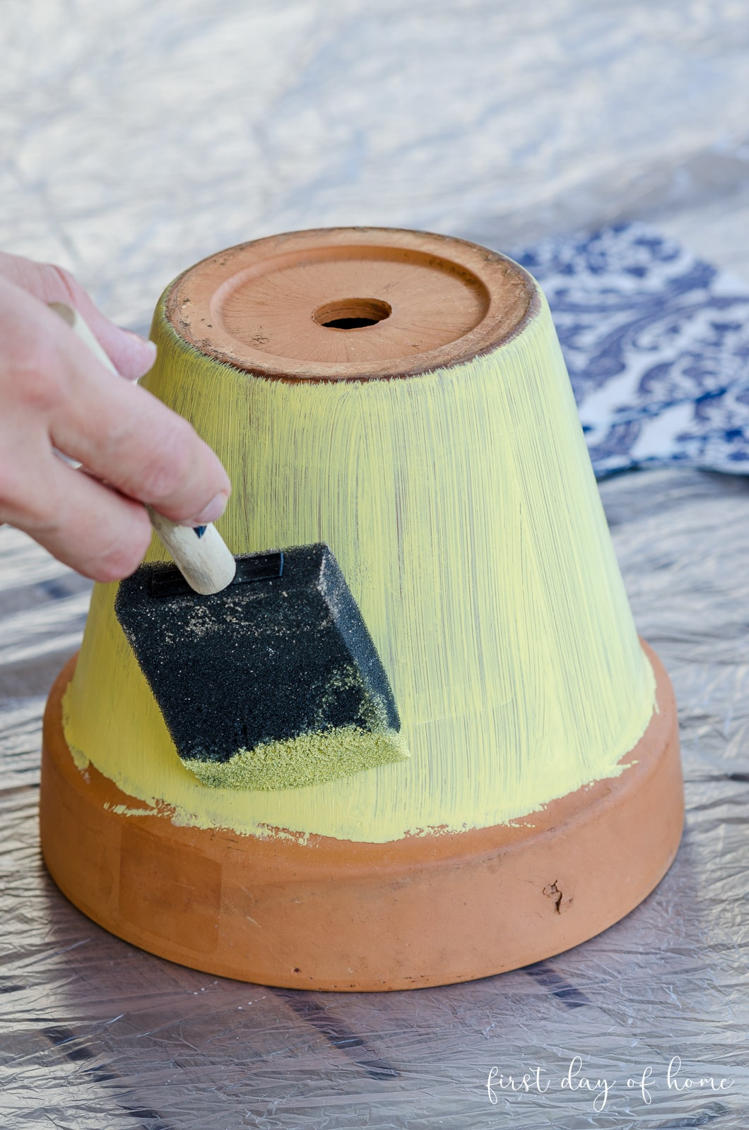 Painting a terracotta pot yellow