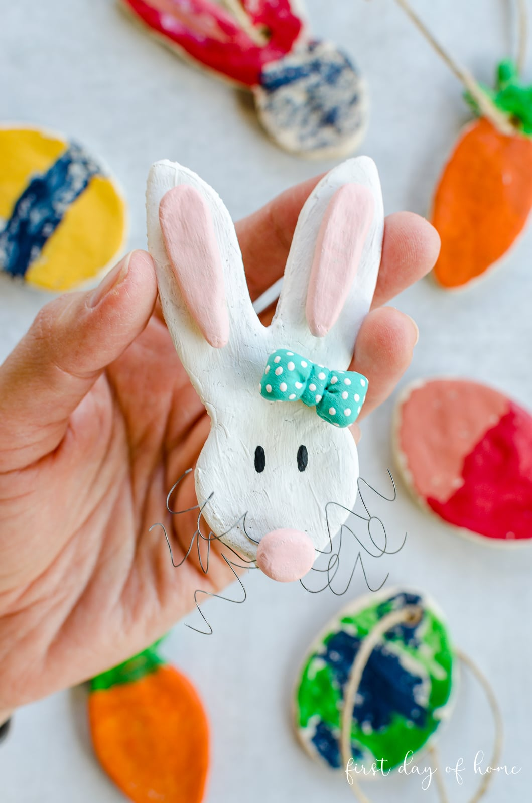 White bunny with turquoise bow made using salt dough recipe
