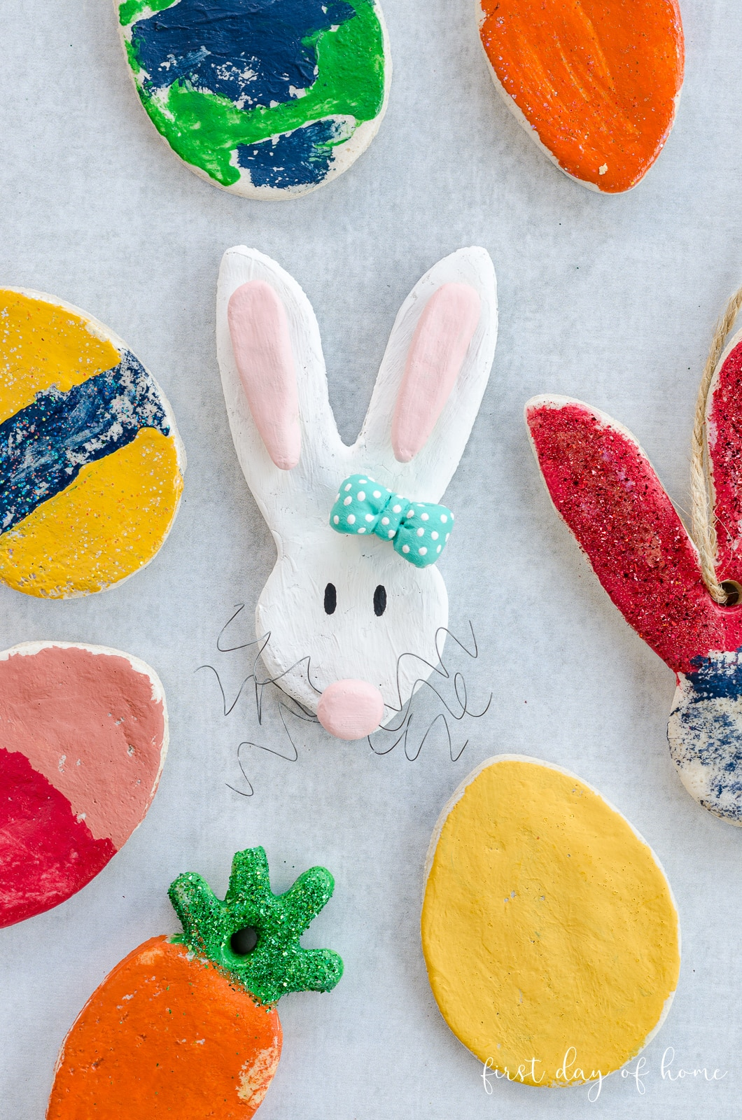 Salt dough ornaments in the shape of Easter eggs, bunnies and carrots