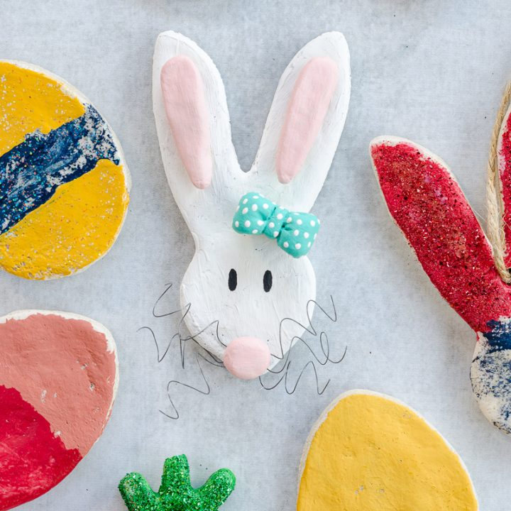 Salt dough bunny ornament and Easter egg ornaments made with easy salt dough recipe