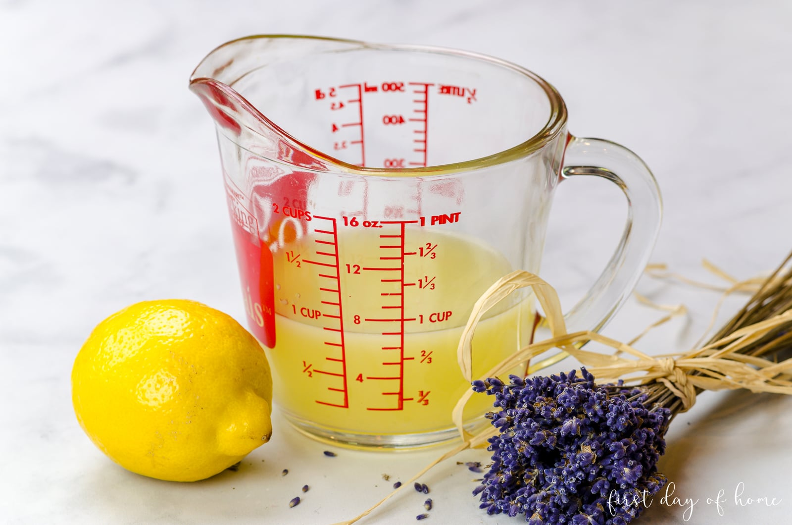 Fresh lemon juice used for making lavender lemonade