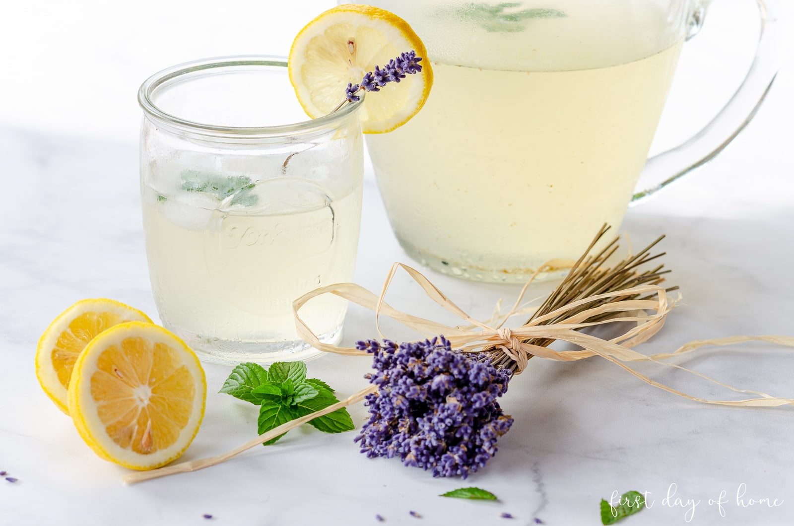 Lavender lemonade recipe with dried lavender buds, fresh lemon and mint