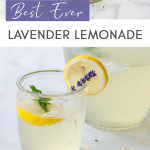 Lavender lemonade in glass with pitcher