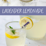 Lavender lemonade recipe and lavender buds steeping to make simple syrup