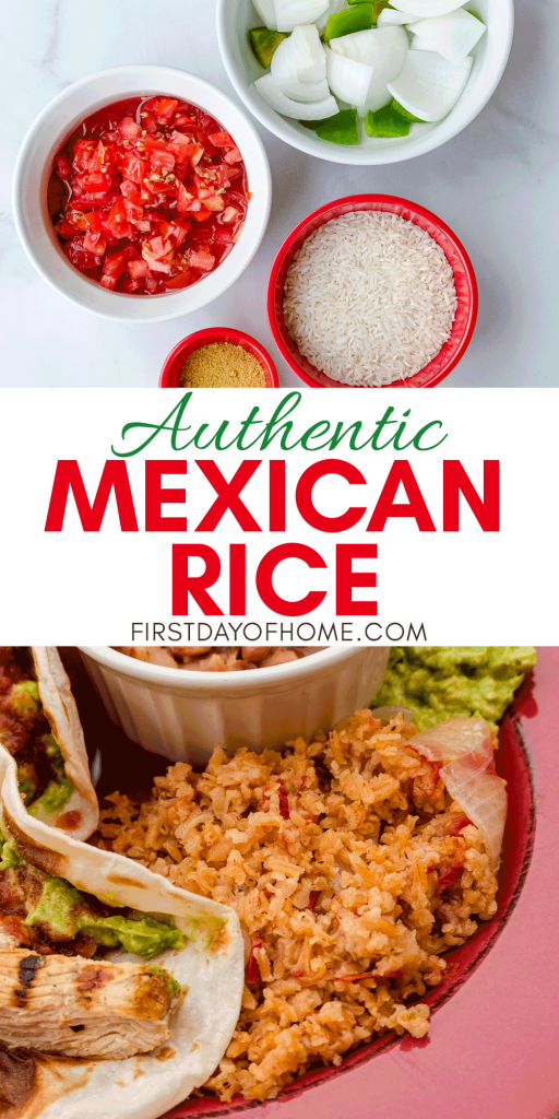 Mexican rice ingredients and finished rice served with chicken fajitas