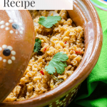 Mexican rice in traditional clay pot