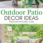Outdoor patio decor ideas with furniture, teak chat table, flowering plants and colorful flower pots
