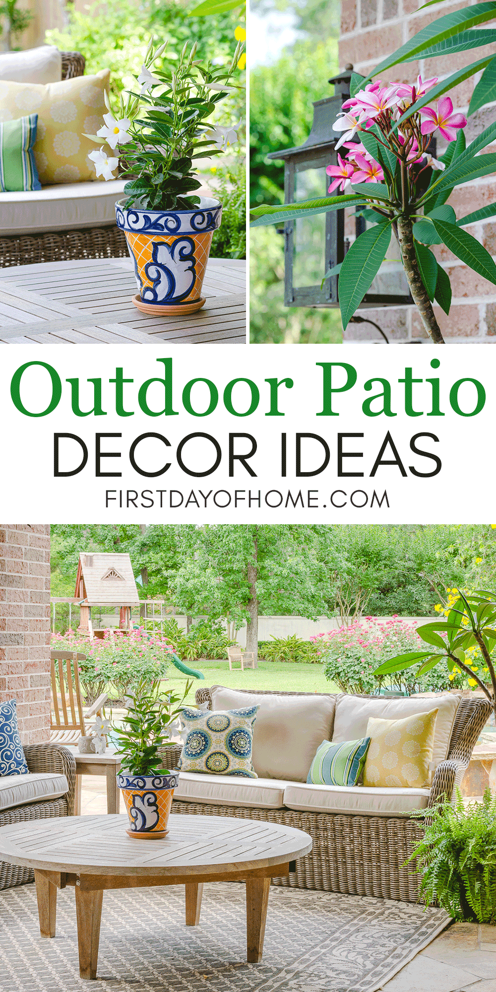 Patio decorating ideas with blue and yellow color scheme and flowering plants