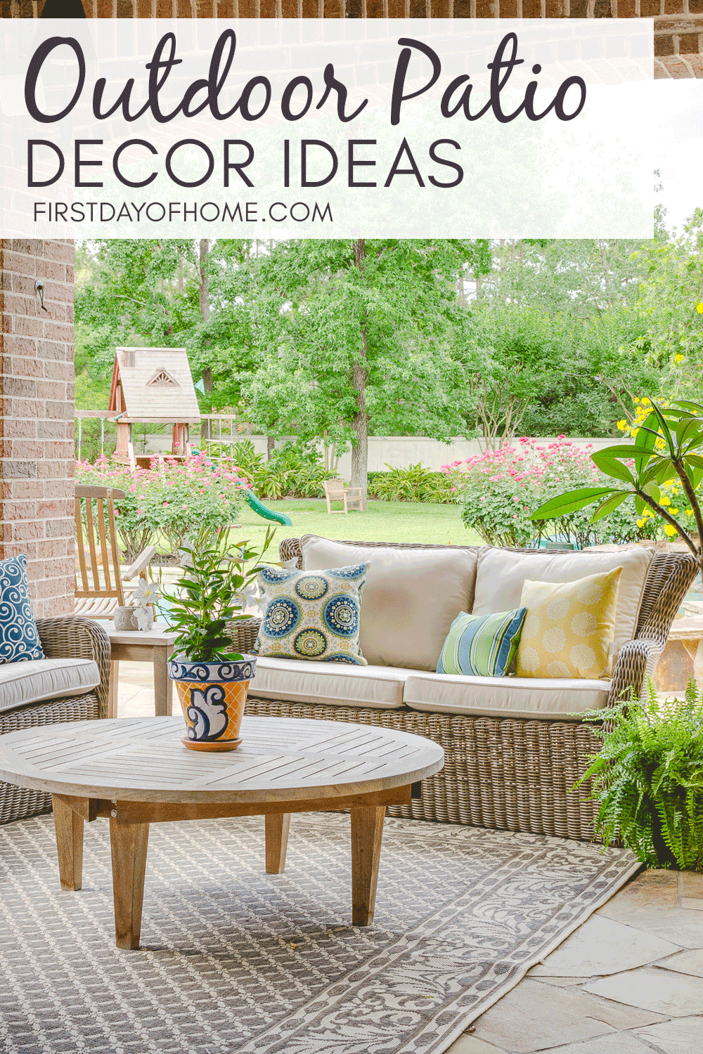 Outdoor patio decor with woven furniture, teak chat table and colorful outdoor pillows