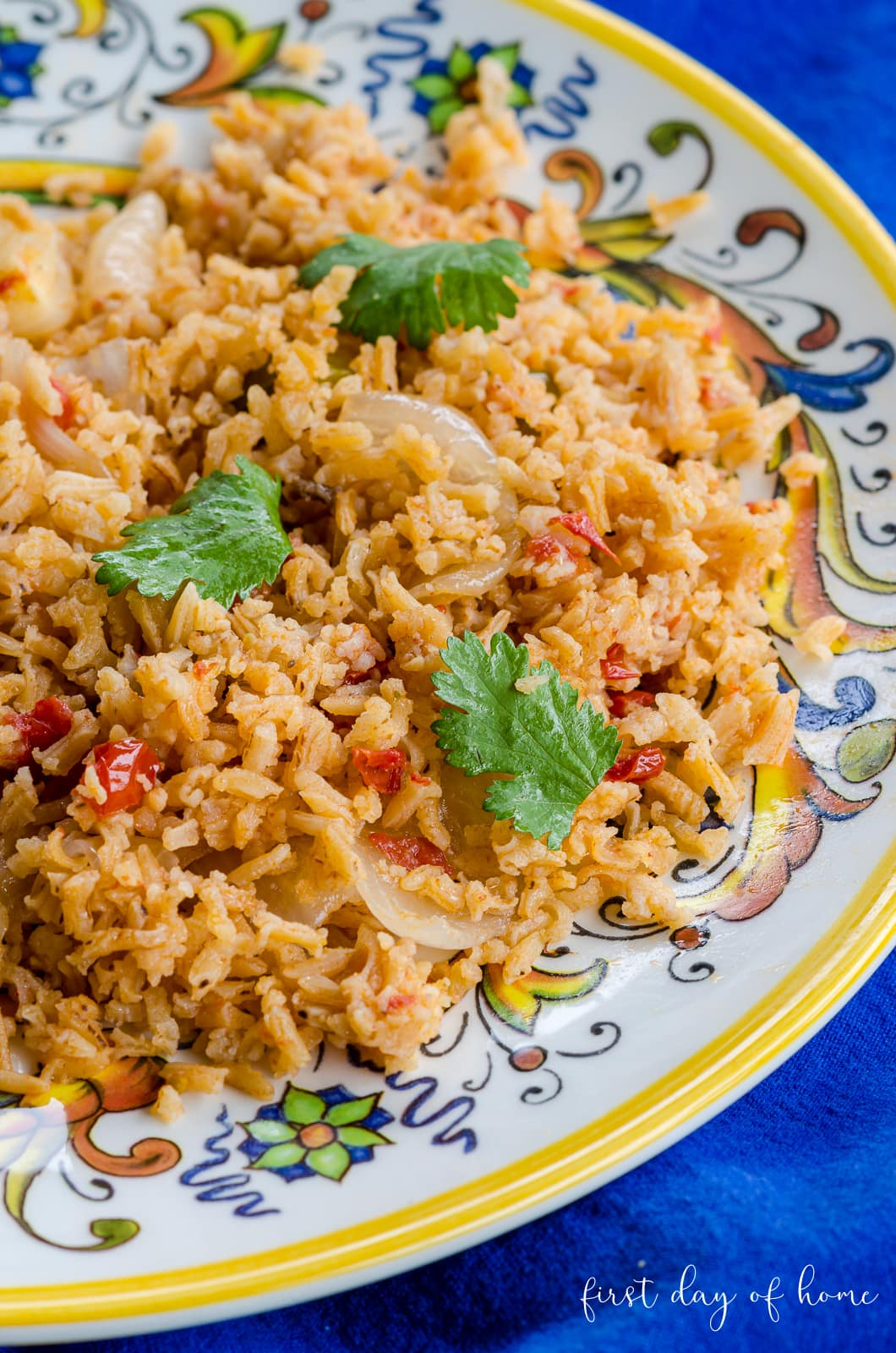 Spanish rice on talavera colorful plate