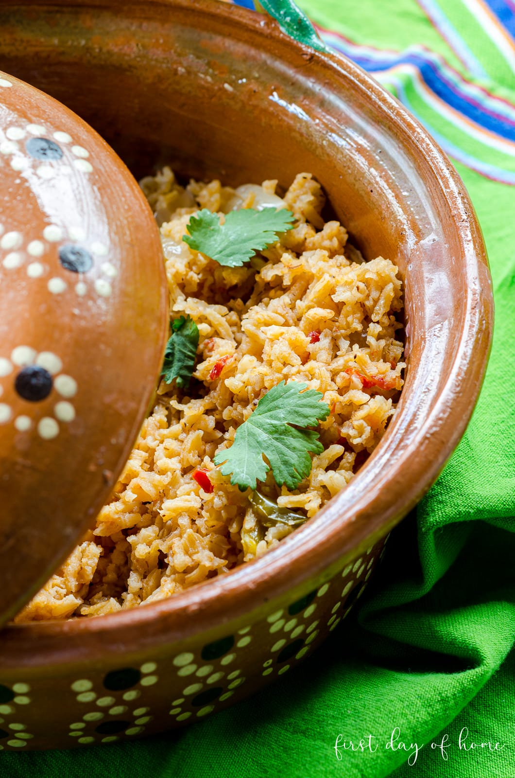 Spanish rice in traditional Mexican clay pot