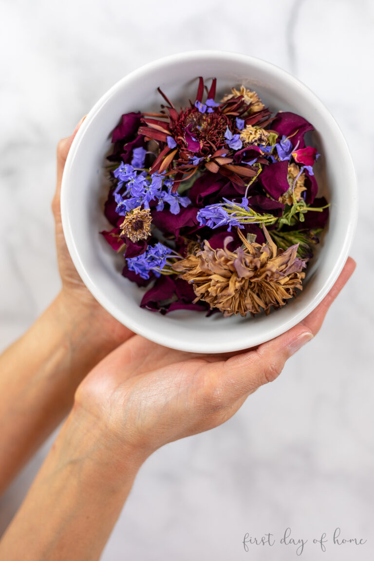 Mix of dried flowers in a bowl before making into potpourri