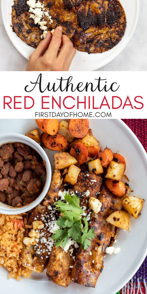 Red enchiladas with potatoes, carrots, rice and beans