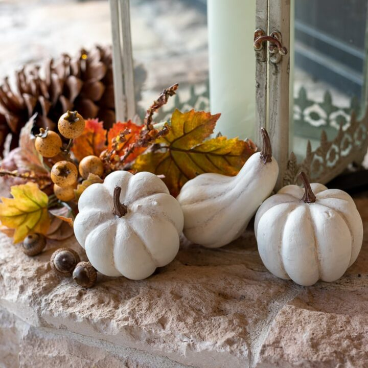 White baby boo pumpkins with lantern and faux fall foliage