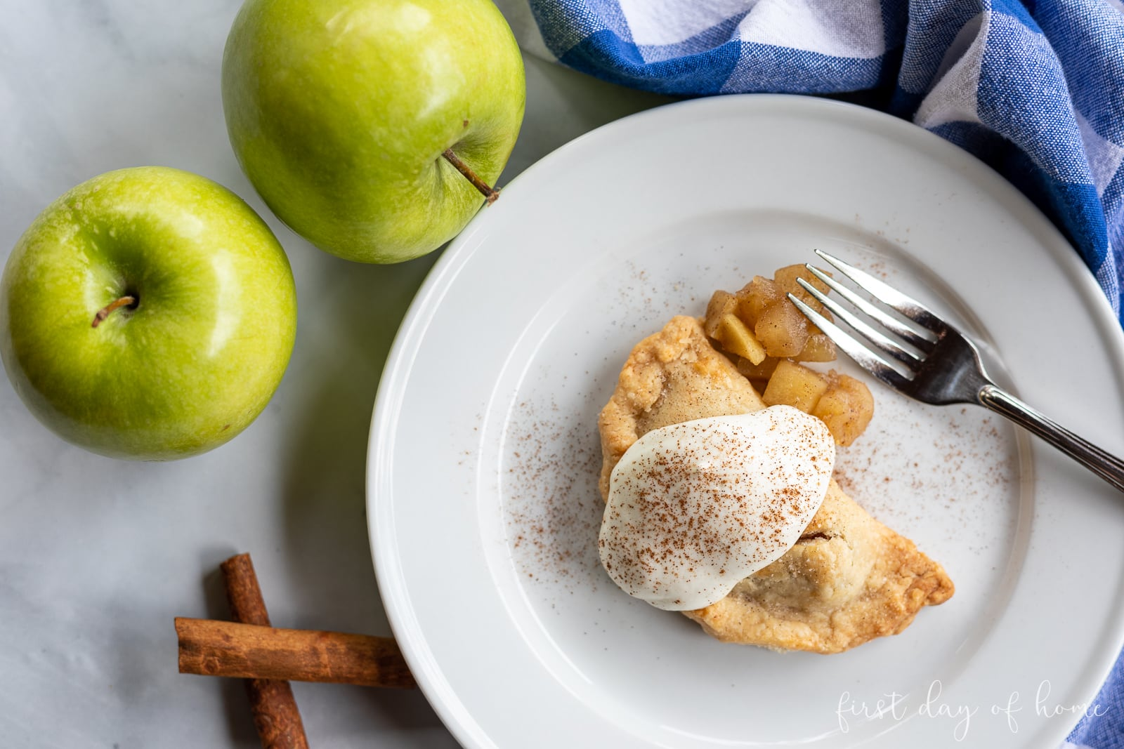 Empanada with apple filling served with homemade whipped cream and cinnamon sprinkles on top with green apples and cinnamon sticks alongside plate