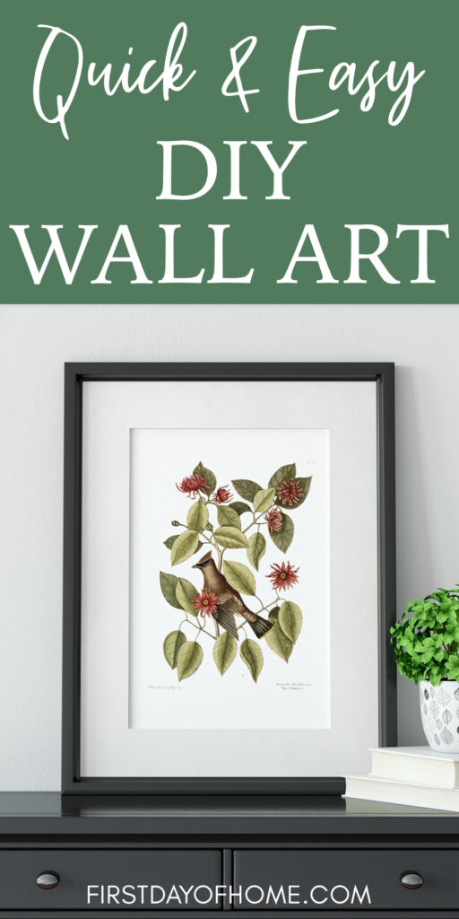 "Fall botanical print with words ""Quick and Easy DIY Wall Art"" for pinning on Pinterest"