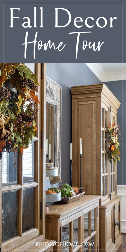 Fall Decor Home Tour Pinterest pin with image of formal dining room with fall wreaths