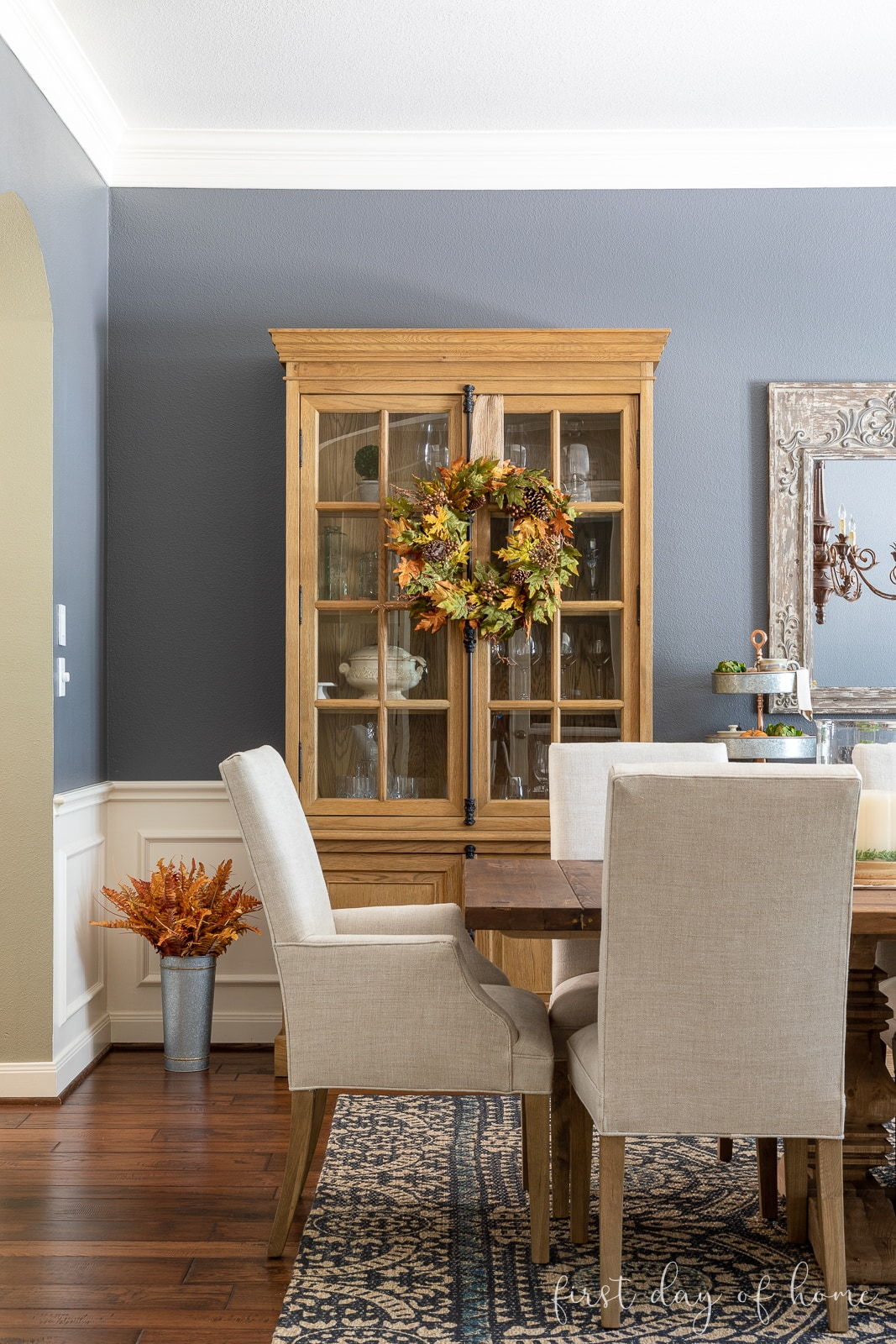 Fall wreath on cabinet in formal dining room