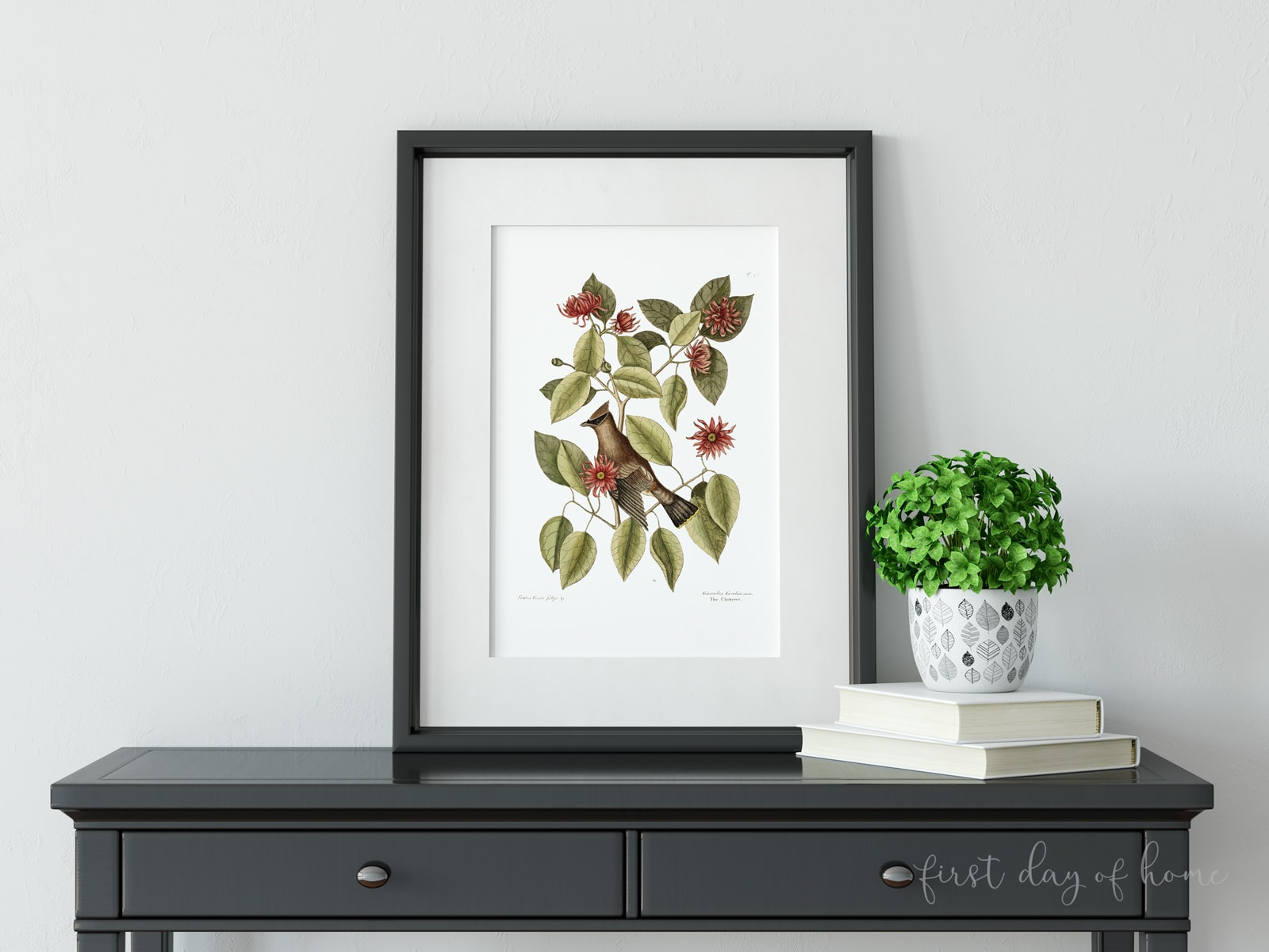 Vintage DIY wall art fall botanical print sitting on secretary desk with plant and books