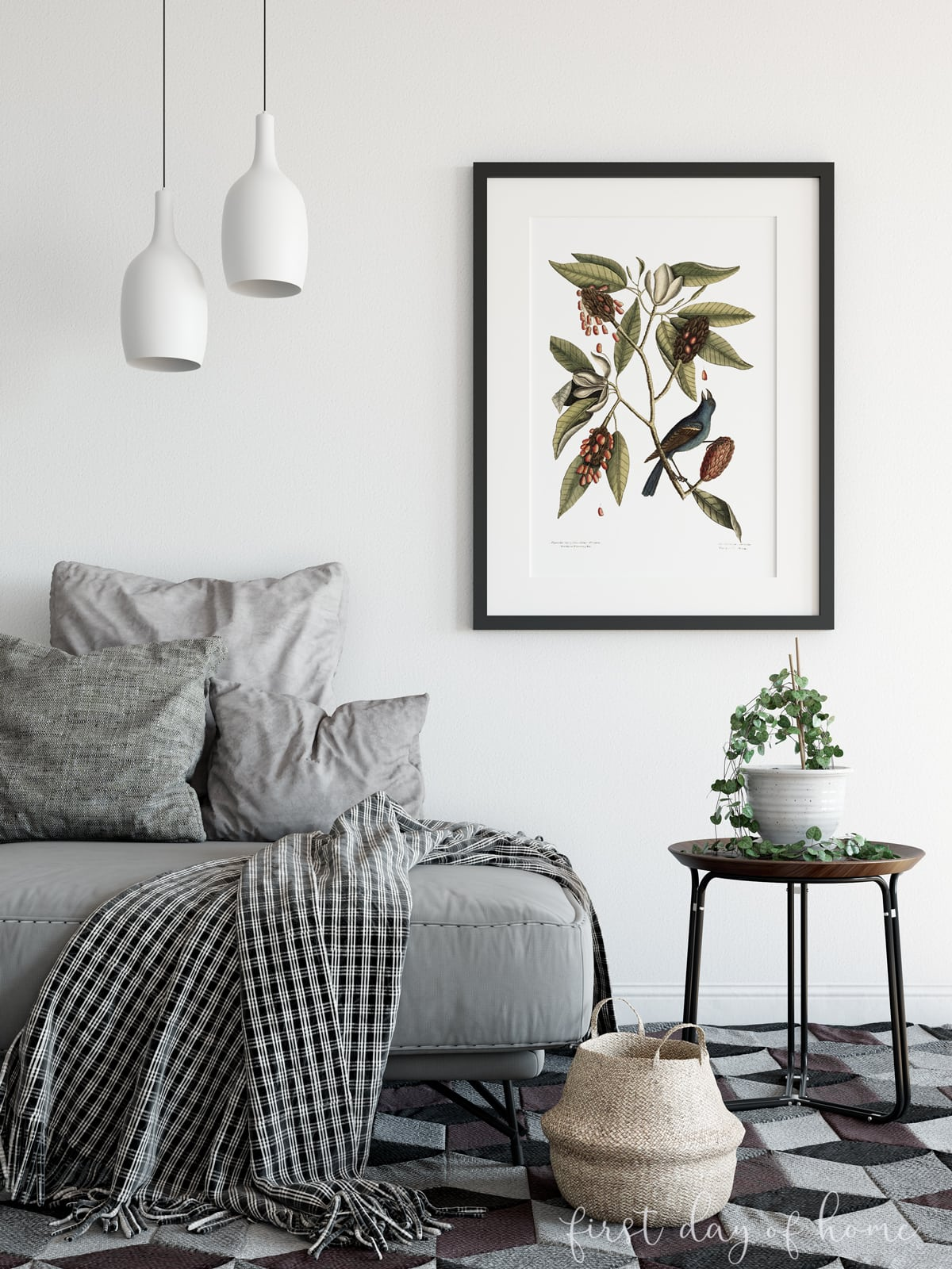 DIY wall art botanical print for fall home decor