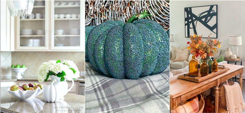Fall home tour collage with various fall home decor images including pumpkins and floral centerpieces