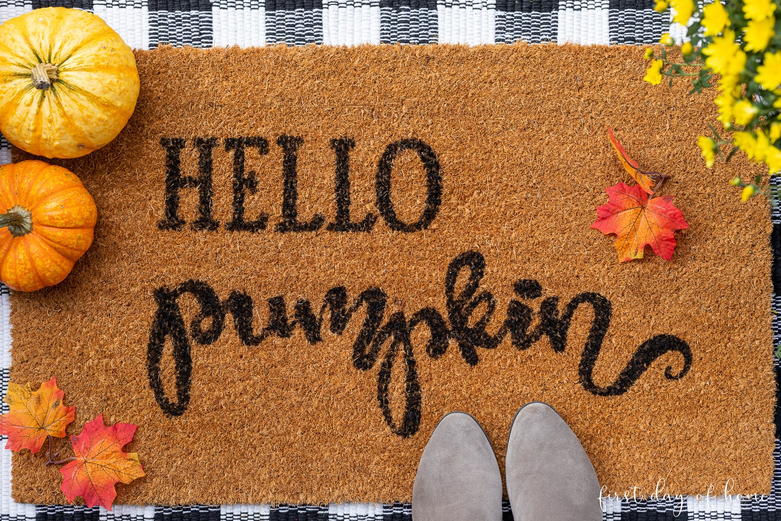 Hello Pumpkin coco doormat for fall front porch decor