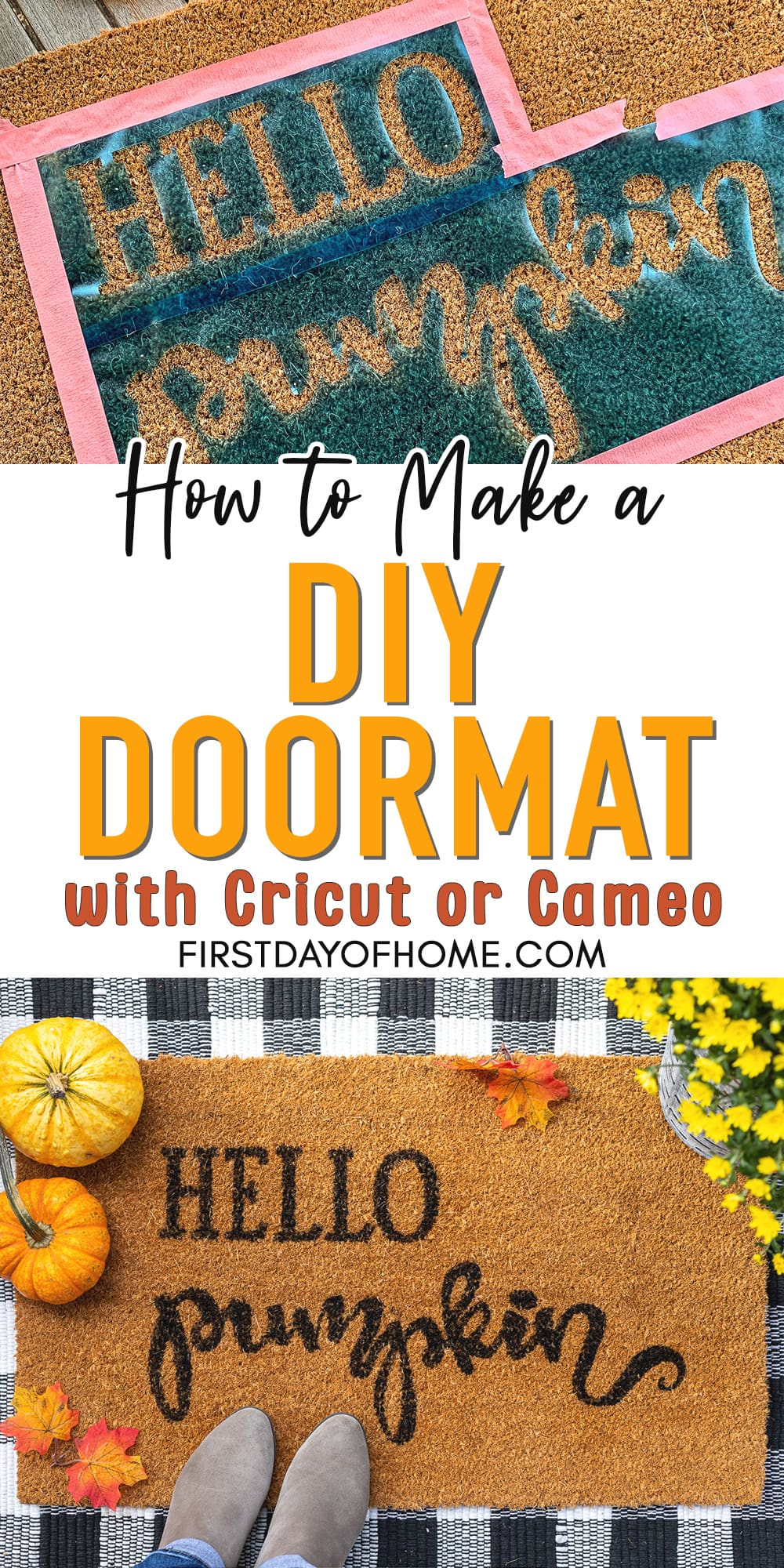"Pin for Pinterest reading ""How to Make a DIY Doormat with Cricut or Cameo"""