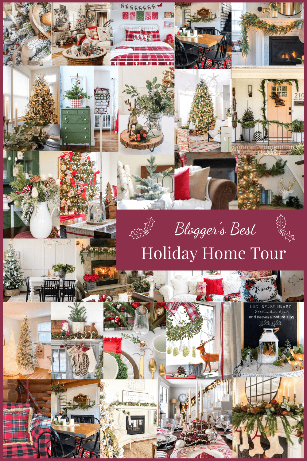 "Collage of holiday decorations and text reading ""Bloggers Best Holiday Home Tour"""