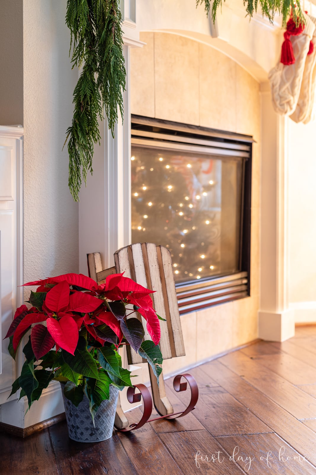 Poinsettia plant at base of fireplace next to sled
