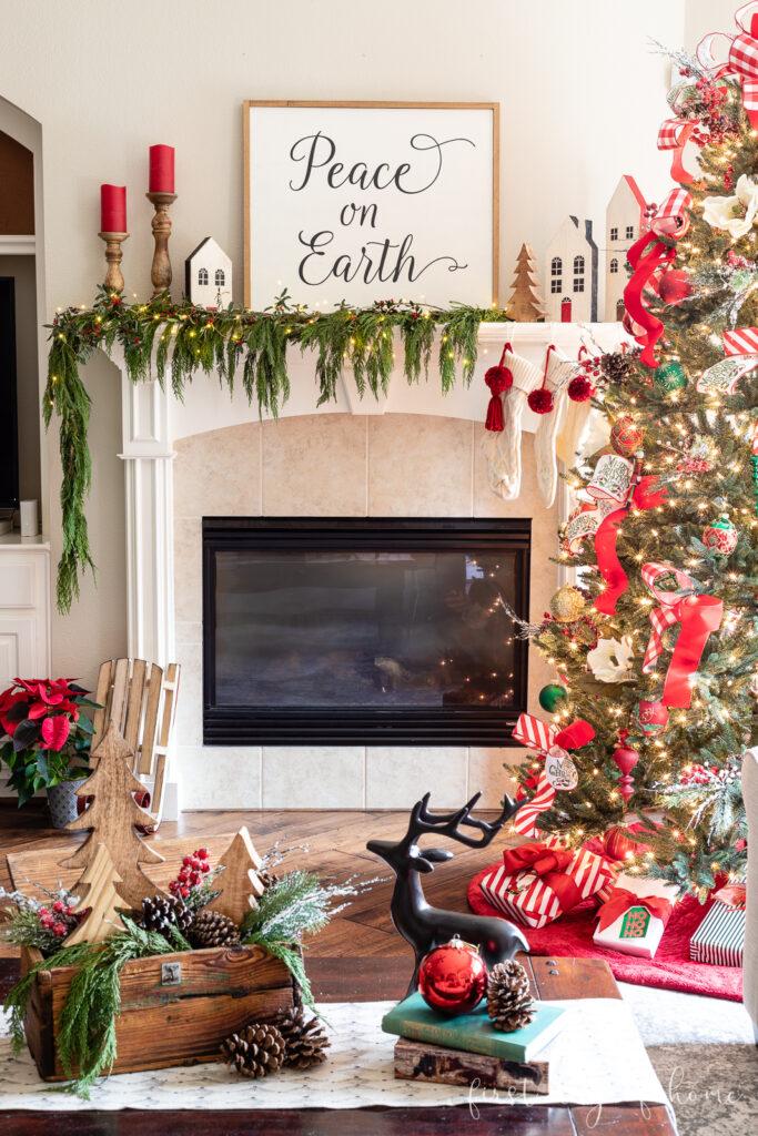 Christmas living room decor with traditional red and green Christmas tree decor, coffee table decor and farmhouse style Christmas mantel