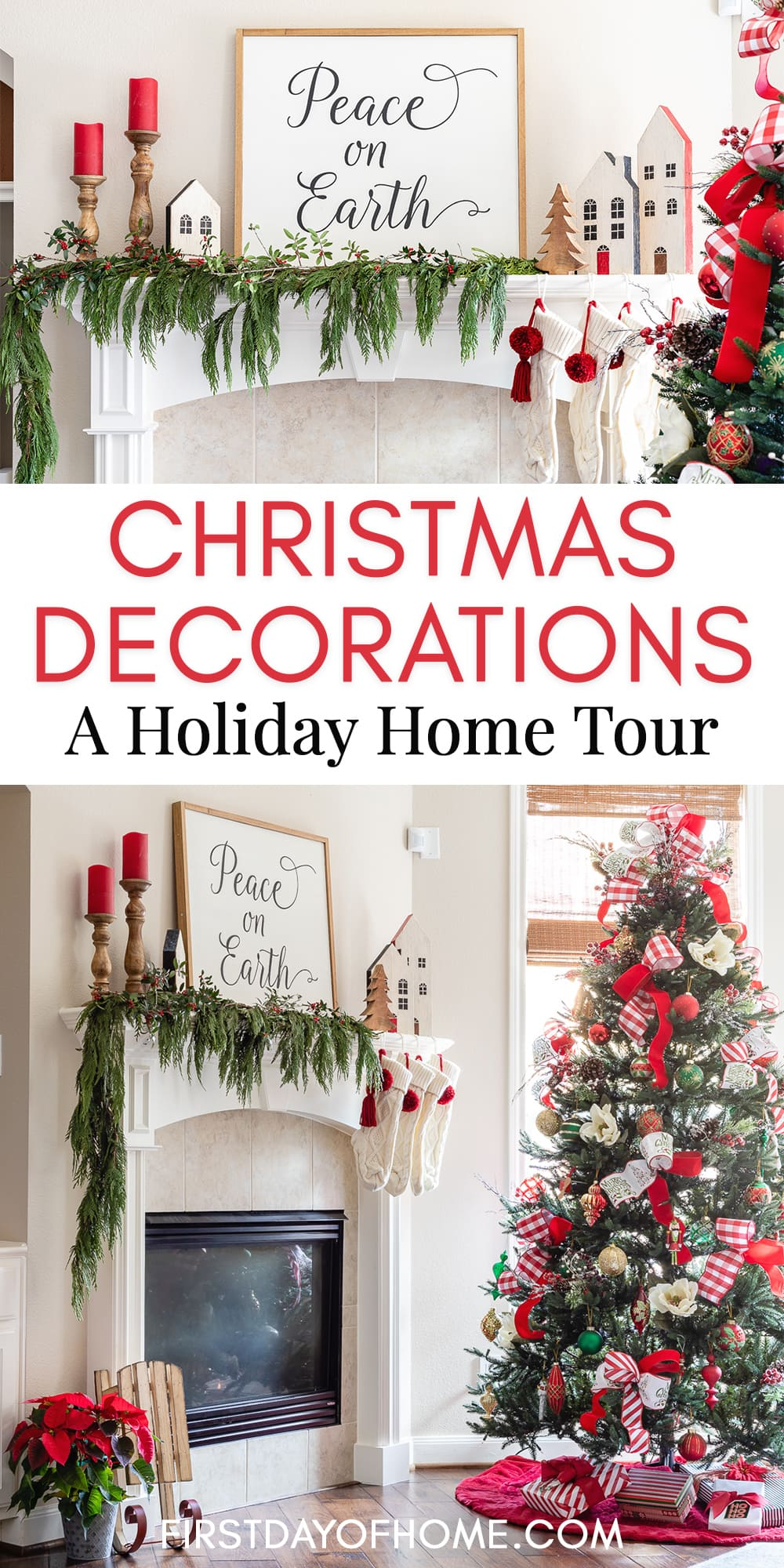 "Pinterest pin showing Christmas living room with red and green accents, including real cedar garland, candles, farmhouse sign and coffee table accents for Christmas and text reading ""Christmas Decorations: A Holiday Home Tour"""