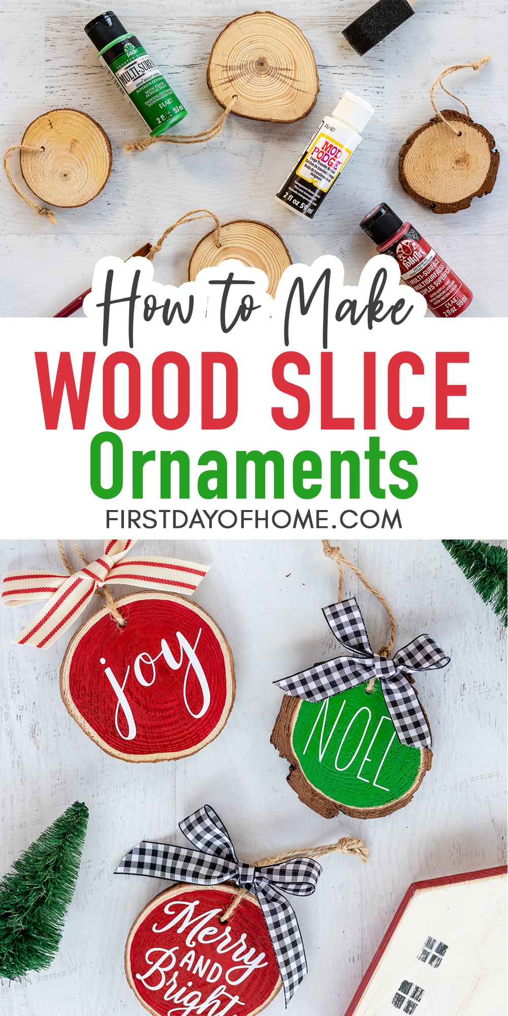 Christmas wood slice ornaments