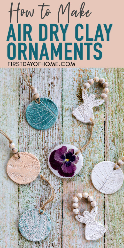 """Air dry clay ornaments in circular shape and angel shape decorated with pressed flowers and paint with text overlay reading """"How to Make Air Dry Clay Ornaments"""""""
