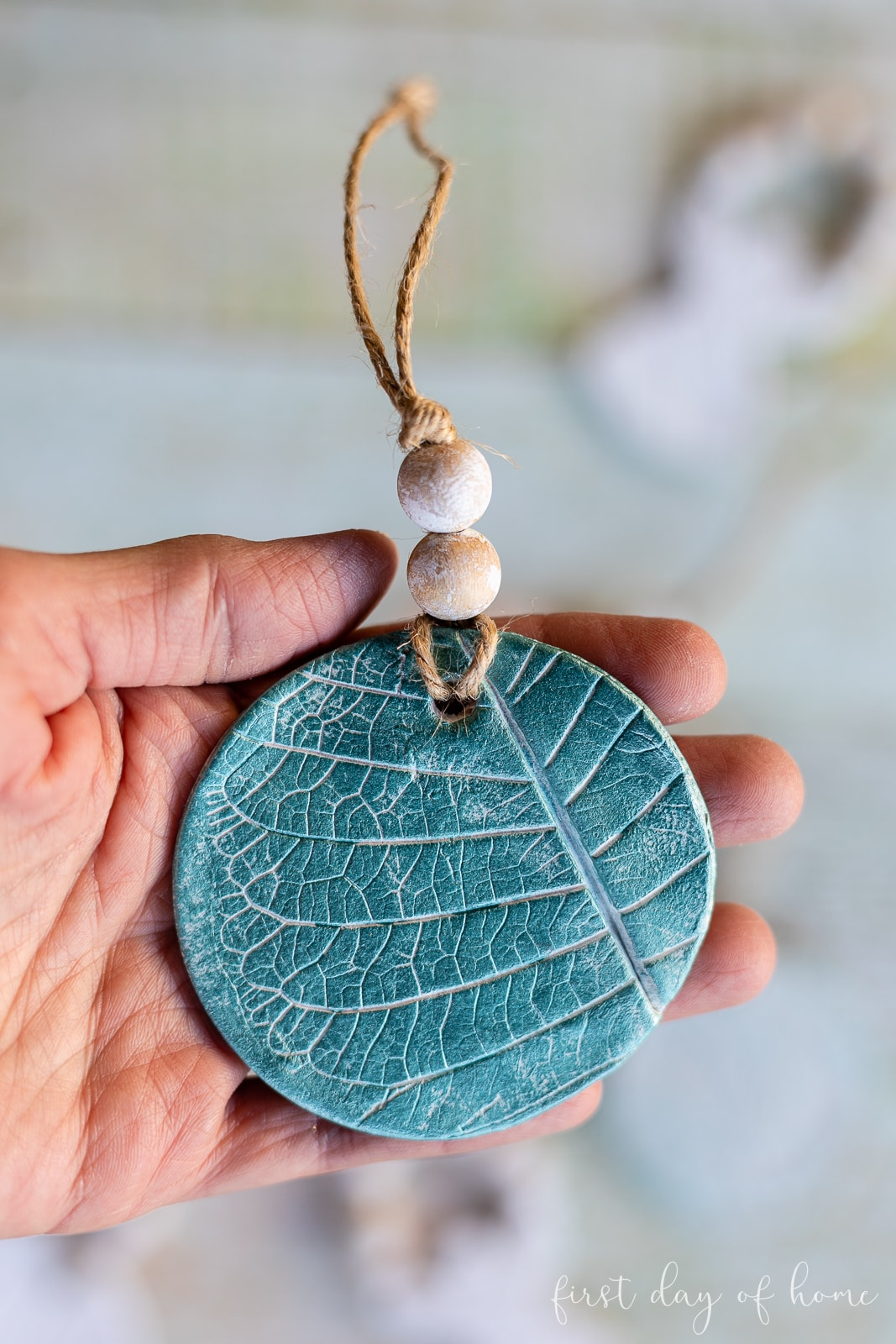 Air dry clay ornaments with leaf pattern and jute twine string with wooden beads