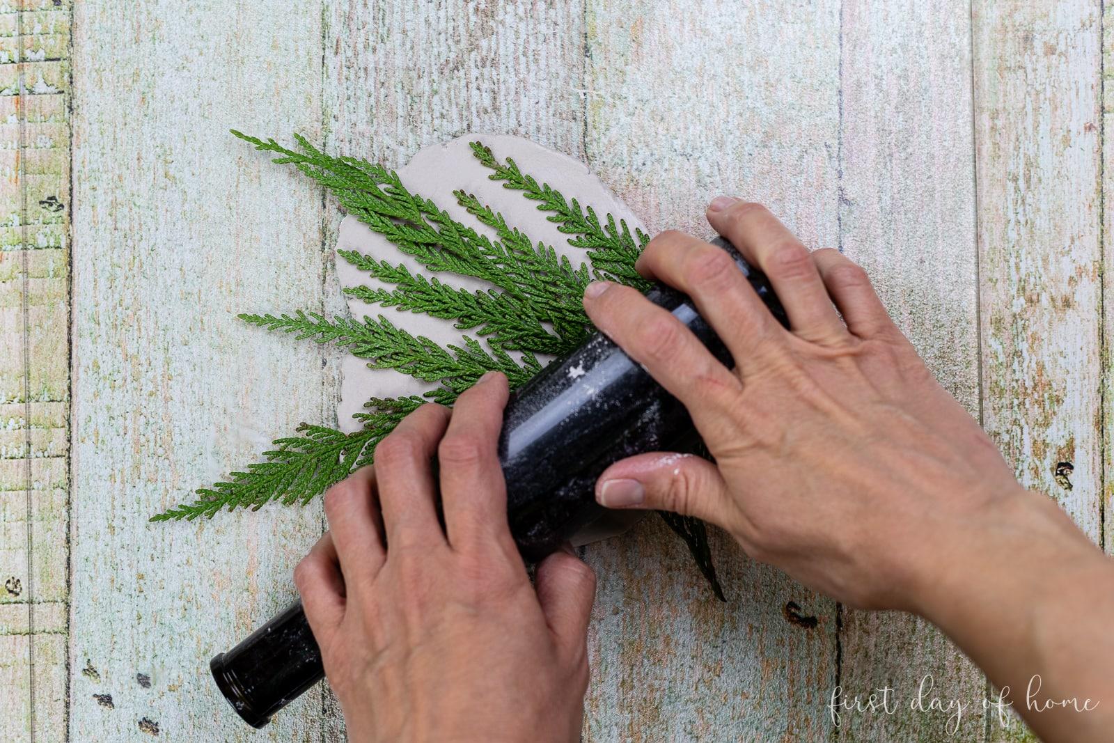 Imprinting a stem onto air dry clay