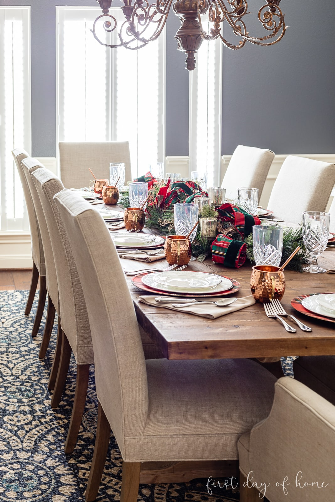 Formal dining room Christmas home decor with plaid tartan theme and copper accents