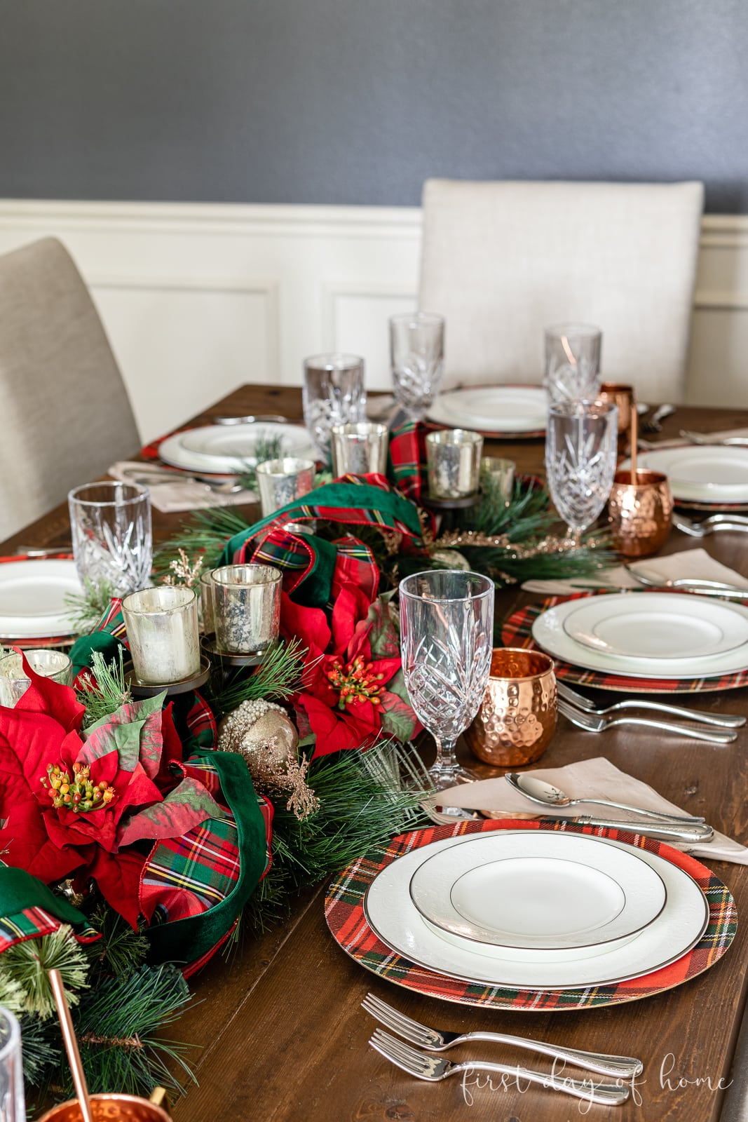 DIY charger plates displayed on dining room table with white china and Christmas centerpiece