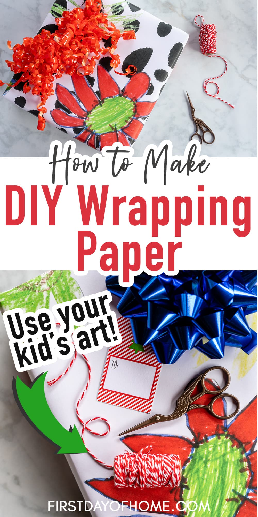 """Pin with gifts in floral wrapping paper with the title """"How to Make DIY Wrapping Paper"""""""