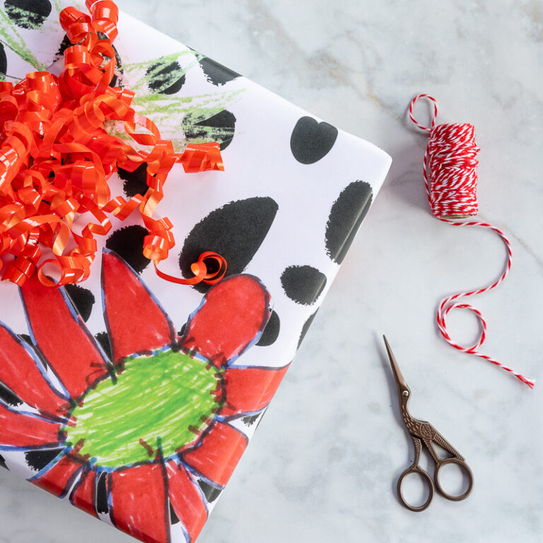 How to Create the Best DIY Wrapping Paper Ever (with Kids Art)!