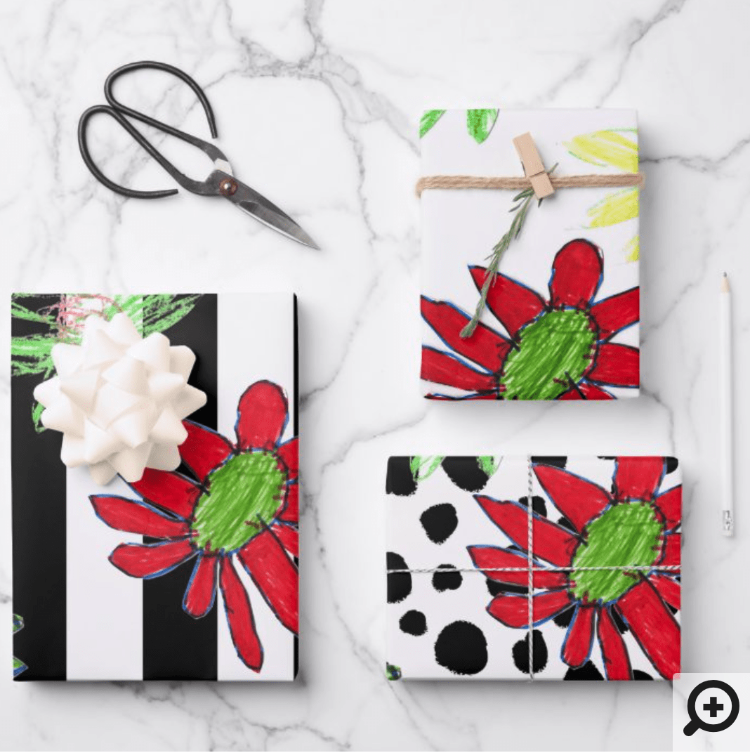 DIY wrapping paper mockup with black and white floral pattern