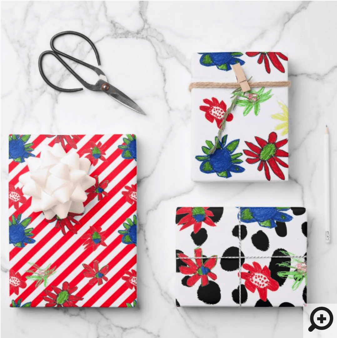 Mockup of DIY gift wrap with repeating (tiled) pattern of red, white, green and blue floral pattern