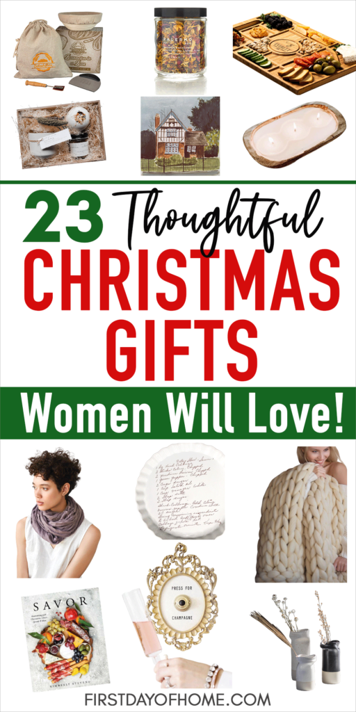 """Product images with Christmas gifts for women and the title """"23 Thoughtful Christmas Gifts Women Will Love"""""""