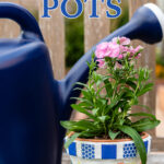 """Image of mosaic flower pot with dianthus flower and watering can in background with text overlay reading """"How to Make Mosaic Flower Pots"""""""