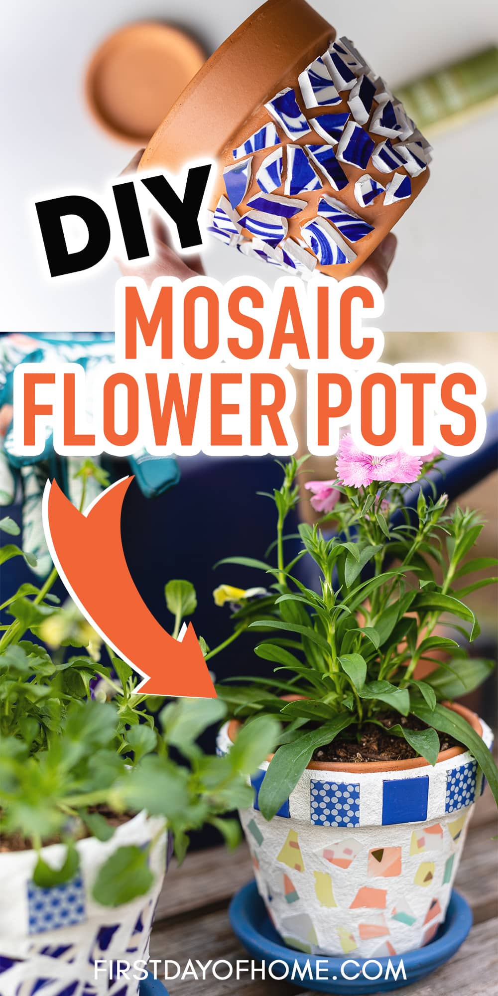 "Broken plate mosaic flower pots with text overlay reading ""DIY Mosaic Flower Pots"""